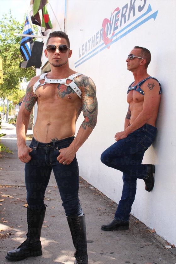 Aaron Currie and David Currie, newlyweds and leather models