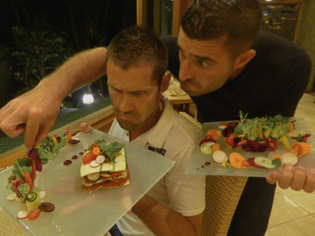 NomadicBoys in their first vegan restaurant in Ubud, Indonesia and in ManAboutWorld gay travel magazine