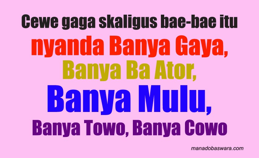 kata-kata sindiran bahasa manado dan artinya