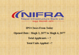 Nepal Infrastructure Bank Limited (NIFRA) closes today