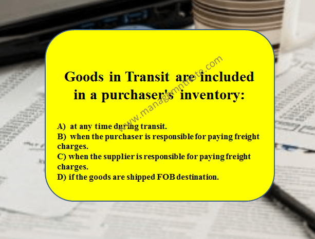 Goods in Transit are included in a purchaser's inventory: