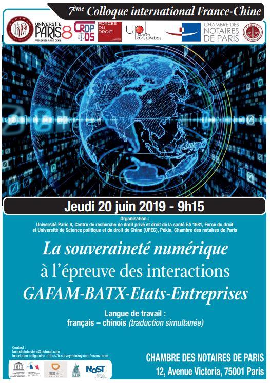 8ème colloque La souveraineté numérique 20 JUIN 2019