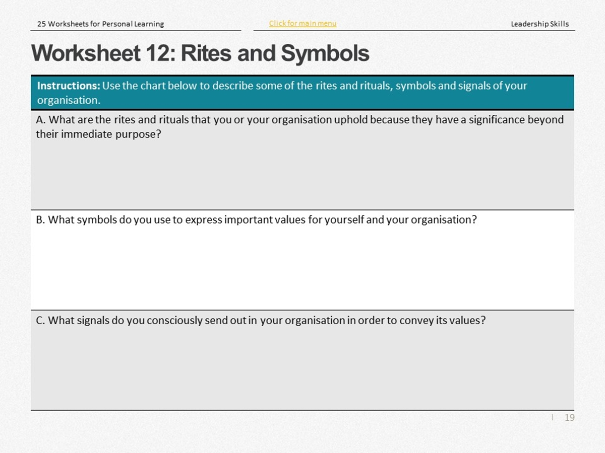 25 Course Worksheets Leadership Skills