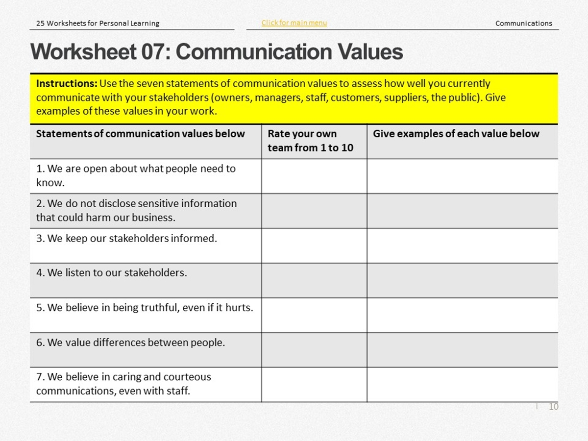 25 Course Worksheets Communications