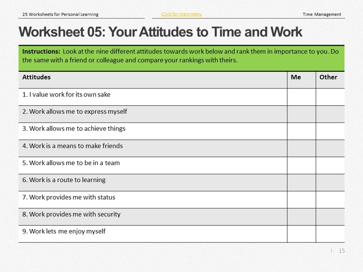 25 Course Worksheets Time Management