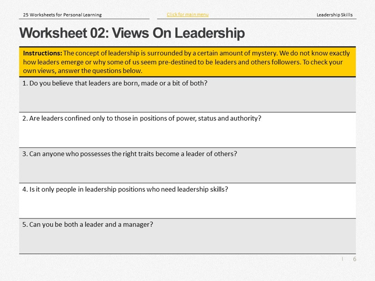 25 Course Worksheets Leadership Skills