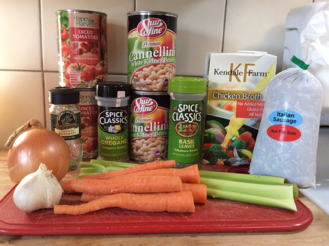 Sausage and white bean ingredients