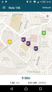 Además, te envía a un mapa donde podes ver proyectada la ruta seleccionada.