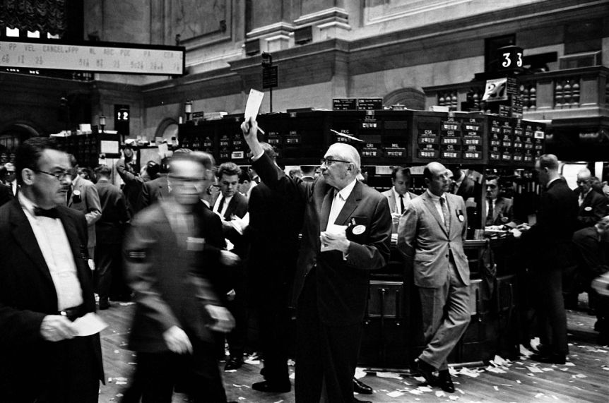 Floor of the New York Stock Exchange. 1963, by Thomas J O'Halloran for U.S. News & World Report. Via Library of Congress collection. Public domain.