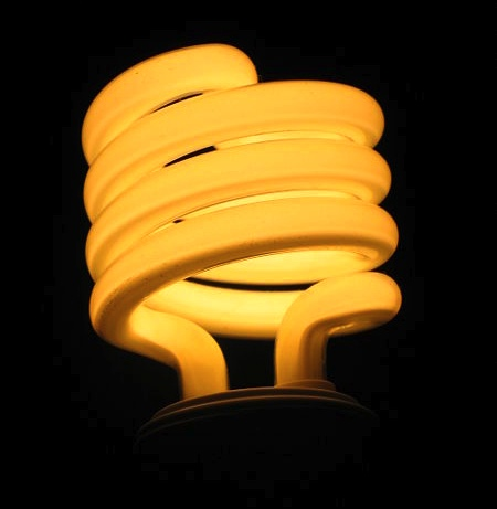 Sprial flourescent lightbulb. Public domain.