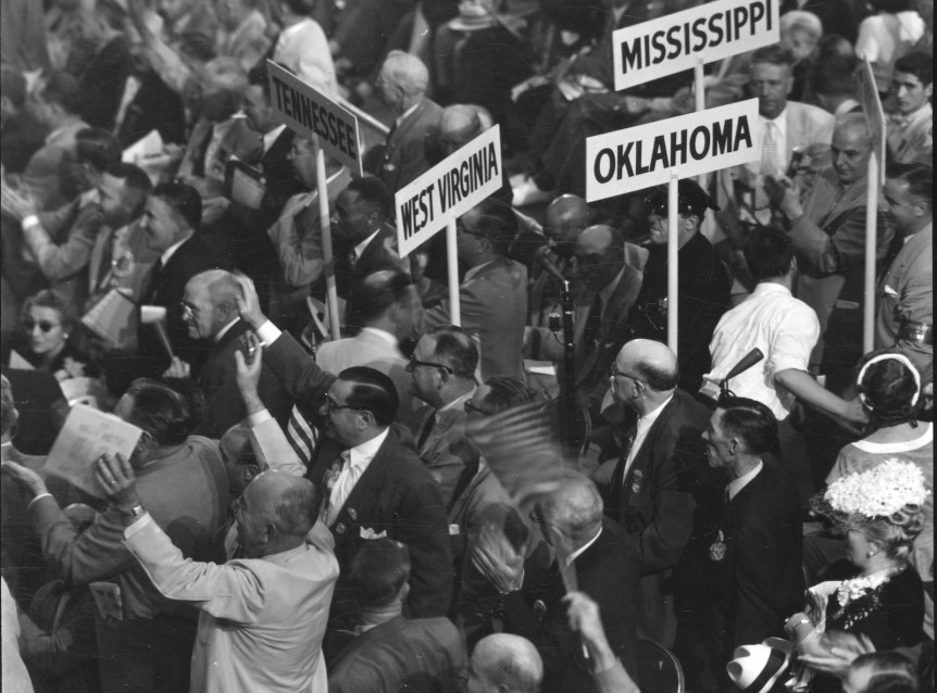 Attendees at the 1952 Republican National Convention, Chicago, Illinois. 1952 by Thomas J. O'Halloran, U.S. News & World Report Magazine. Donated into the public domain. Via Library of Congress.