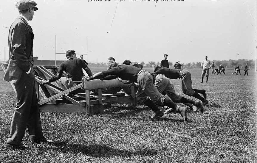 Football men exercising, Harvard. (LOC). Bain News Service, ca. 1910