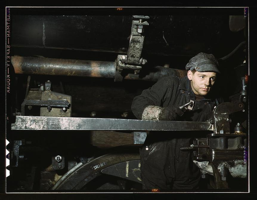 Young worker at the Chicago & Northwestern Railroad 40th street shops, 1942.