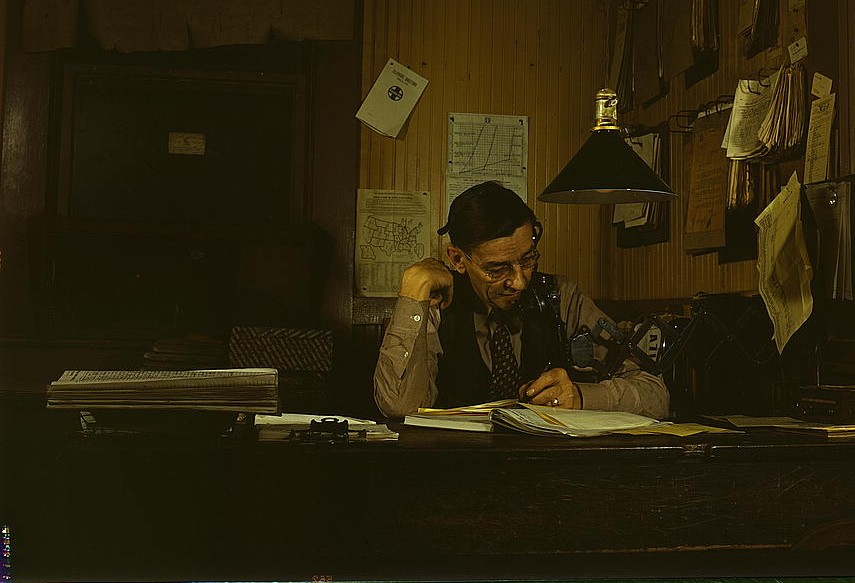 Yardmaster in railroad yards working, Amarillo, TX, 1943. By Jack Delano via Library of Congress Collection (LOC)