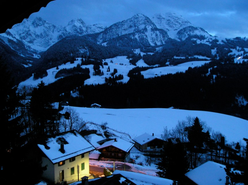 Winter night, looking down to Chateau D'Oex. (c) 2008 E. Forrest Christian. All rights reserved.