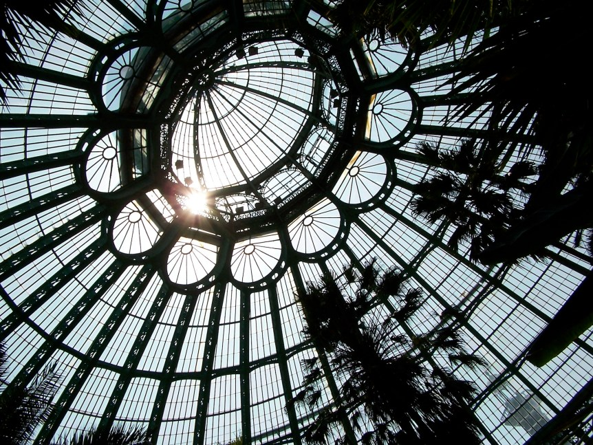 Belgian royal conservatory's dome, interior with sun. (c) E. Forrest Christian