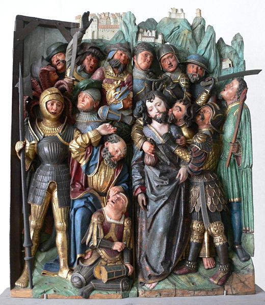 Niklaus Weckmann (Werkstatt): Gefangennahme Christi, Ulm um 1520 , Lindenholz; Fassung durch Caspar Strauß, Augsburg, 1625 (aus Kloster Zwiefalten). Via Wikimedia Commons