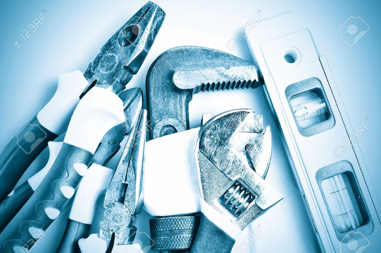9397616-Set-of-tools-in-metallic-blue-shades-Stock-Photo-plumbing-plumber-background