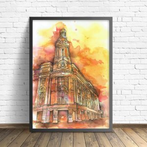 Royal exchange theatre painting by Kate O'Brien, yellow and orange. Wall art, art print, Manchester art.