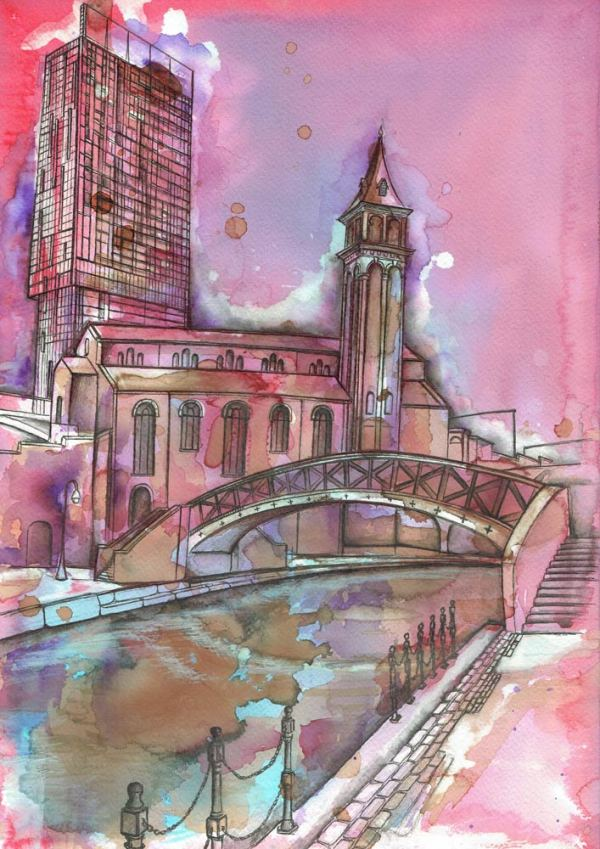 Fine art print of Manchester's Castlefield area by local artist Kate O'Brien. Originally a watercolour painting on canvas with emphasis on shades of pink and purple.