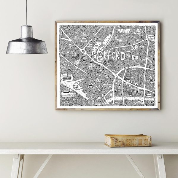 Doodle map of the Salford in Manchester by local artist Dave Draws. Manchester art, poster, wall art, maps, illustrations.