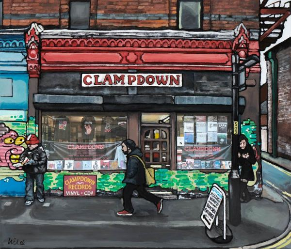 Painting of Clampdown record shop in Manchester's northern quarter by local artist Matt Wilde. Fine art print on archival paper.