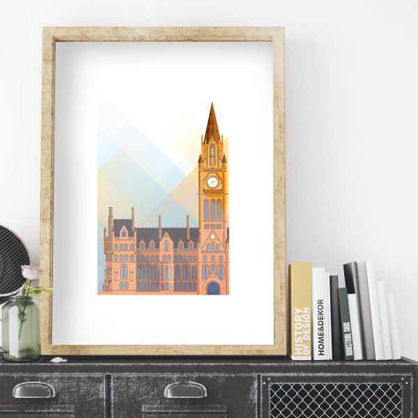 Vector illustration print of Manchester Town Hall by local designer Alex Atkinson