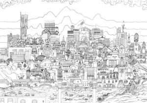 Black and white illustration print of Manchester skyline by local artist Meha Hindocha