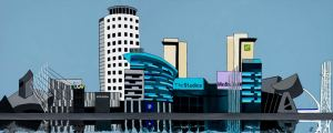 Manchester art print of Media City UK, in Salford, Manchester, by local artist Lucy Burgess.