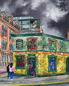 Fine art print of the notorious Peveril of The Peak pub in Manchester