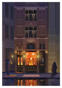 Art print of Manchester's Chophouse by Stephen millership. Poster, print, wall art.