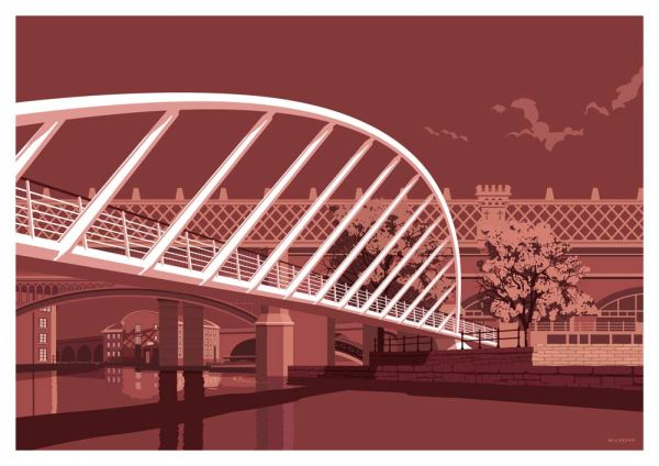 Manchester's merchant bridge designed by Stephen Millership in this vintage, retro print