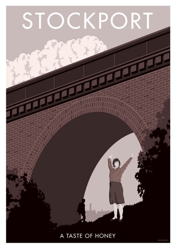 Vintage retro style film poster of a taste of honey, in Stockport, by Manchester based artist Stephen Millership.