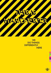 Typography print of Manchester, yellow background, reads 'this is Manchester: we do things differently here'