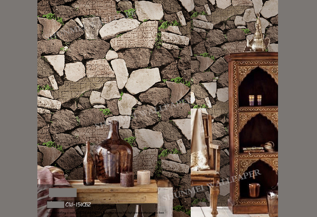 Modern Rustic 3D Brown Granite Rock Stone Look Wallpaper Industrial Shop Wall Paper Roll 10M