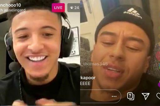 Jadon Sancho was joined by Jesse Lingard on Instagram live.