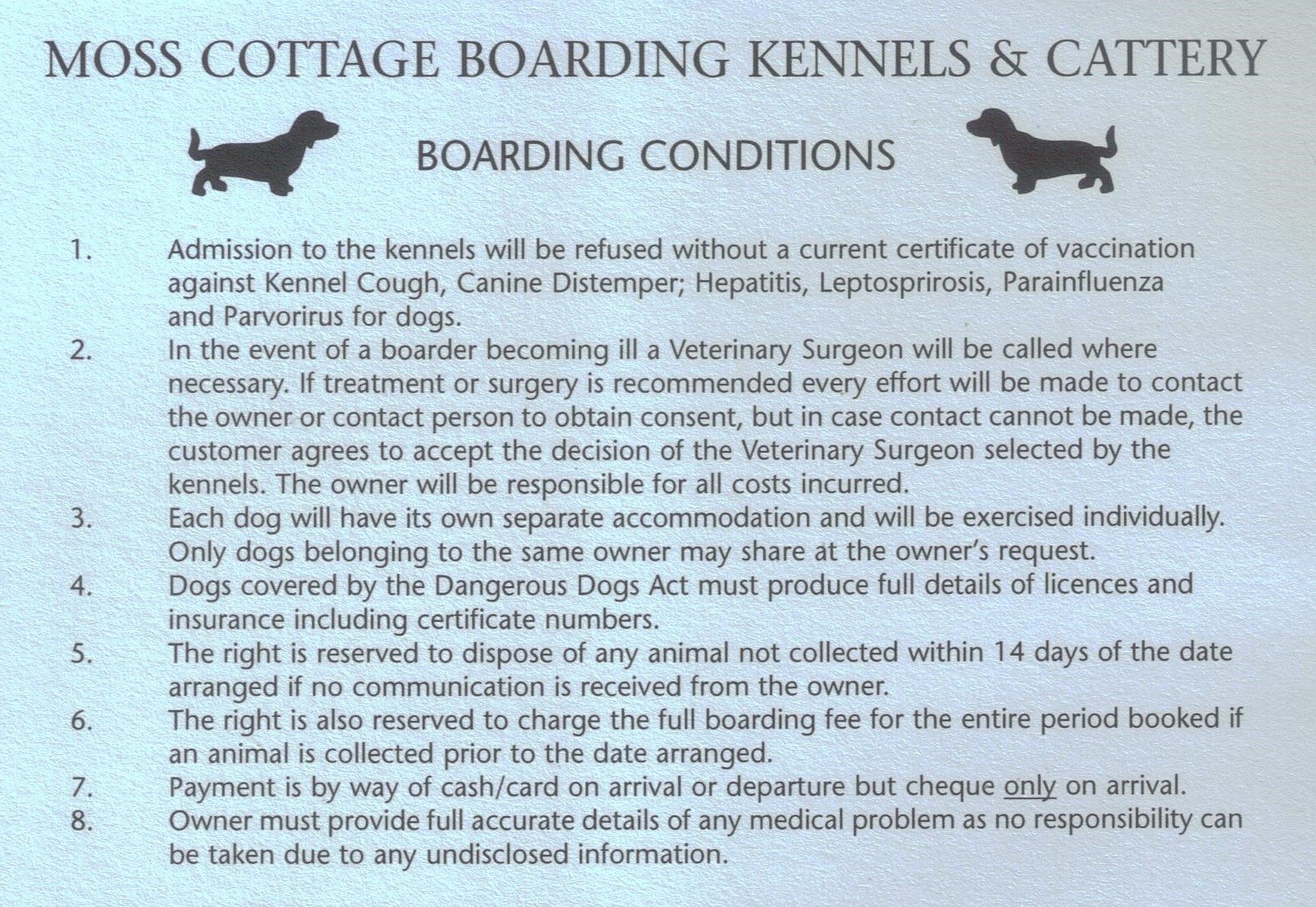 Kennels Boarding Conditions