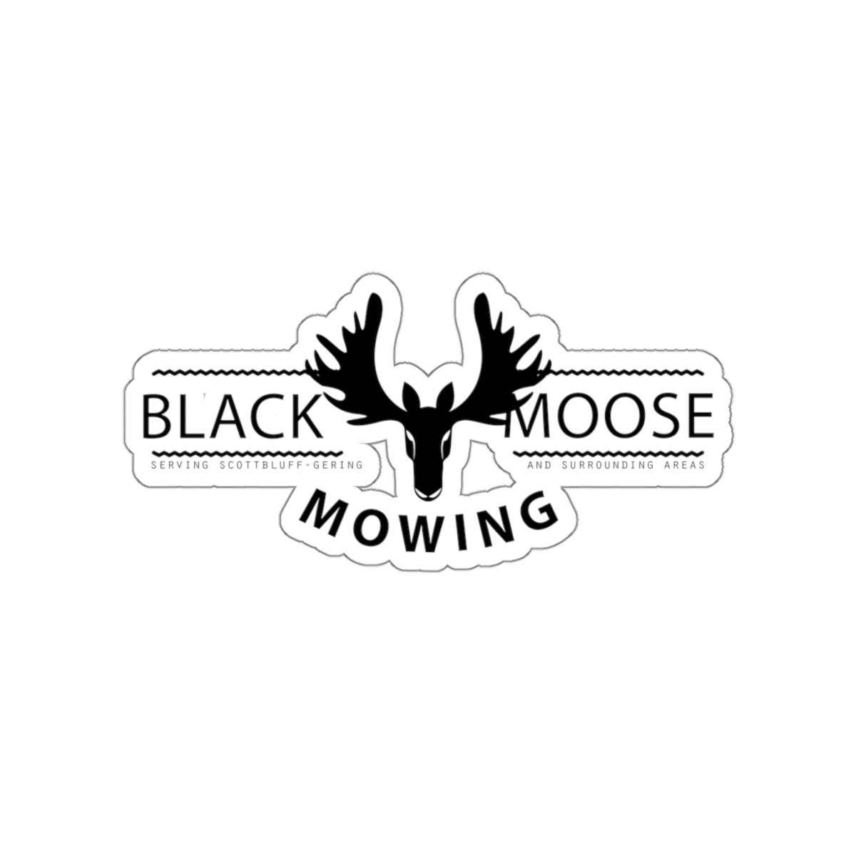 Black Moose Mowing Kiss Cut Stickers