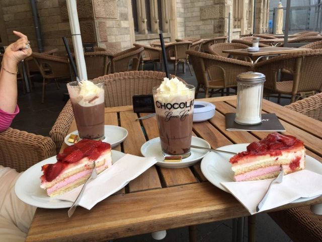 Hot chocolate at chocolate museum in Cologne during escorted motorhome tour