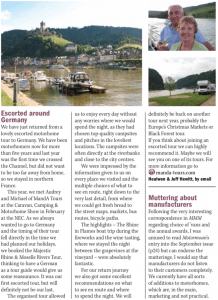 Photo readers letter Majestic Rhine & Moselle Rivers tour 2016, as published in the November 2016 issue of MMM