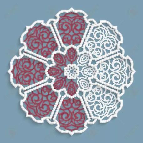 esempio di mandala da colorare merletto colore azzurro e rosso