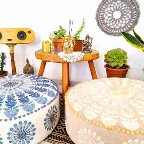 Bohemian Decor Floor Cushion Pillow Pouf Beige Round Boho Chic 2