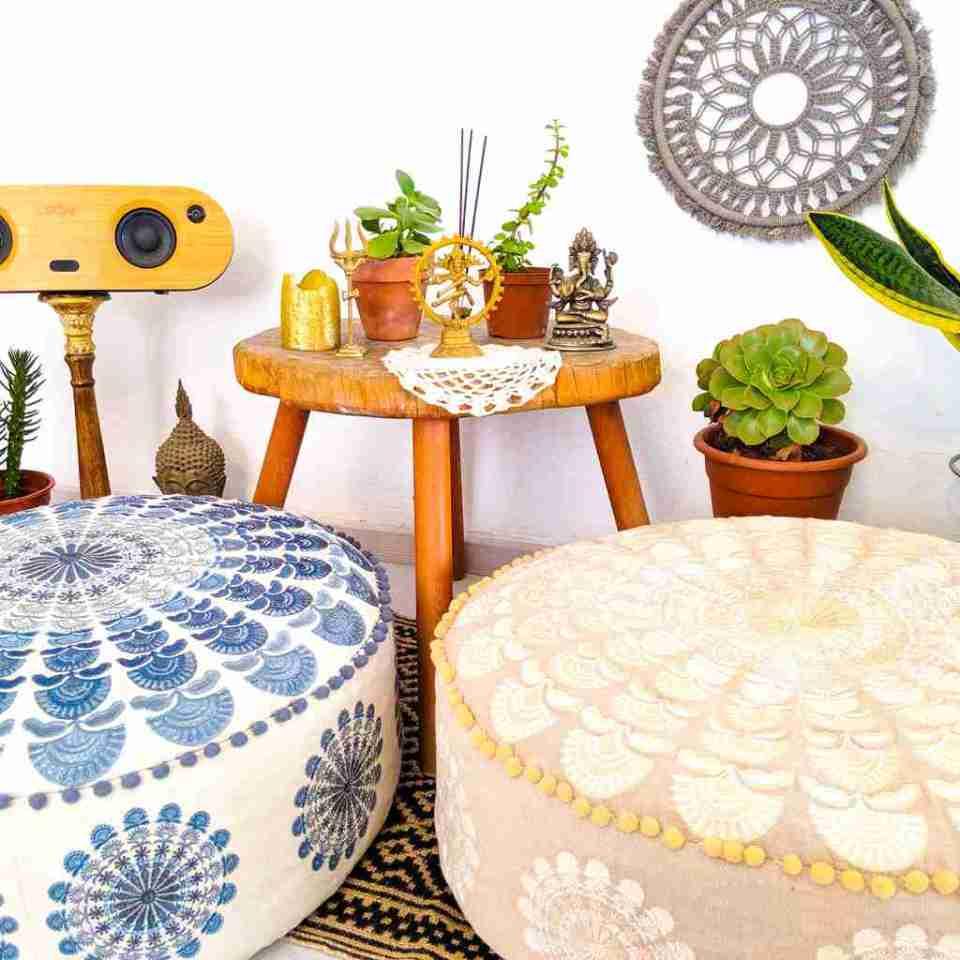 Bohemian Decor Floor Cushion Pillow Pouf Beige Round Boho Chic 2