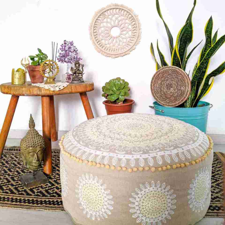 Boho Chic Pouf Floor Cushion Round Mandala 6
