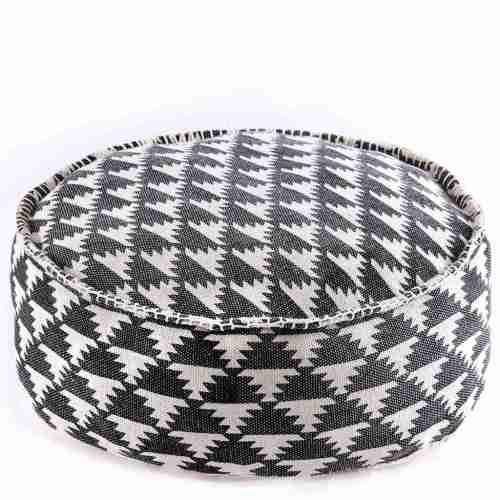 Tribal Bohemian Decor Floor Cushion Pouf pattern black gold white 5