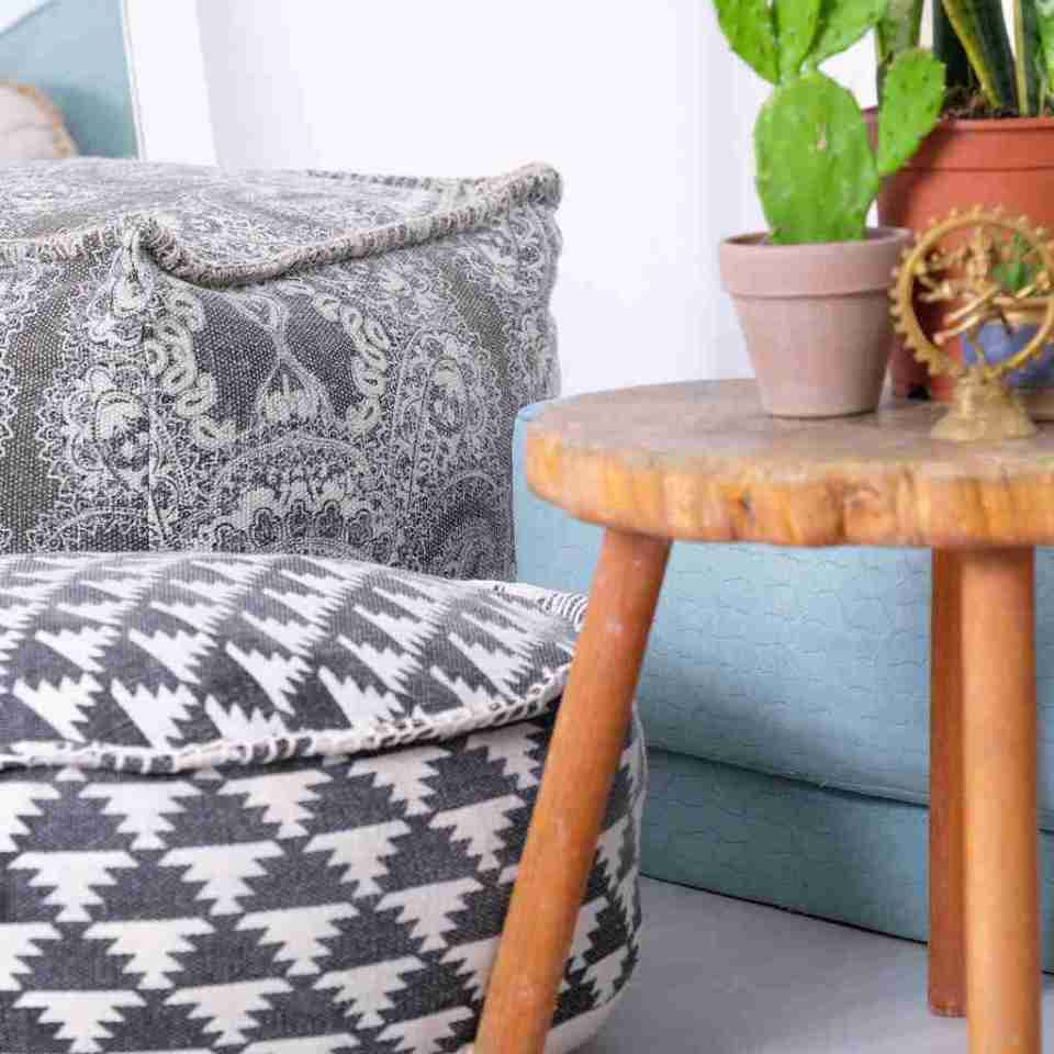 Tribal Bohemian Decor Floor Cushion Pouf pattern black gold white 7