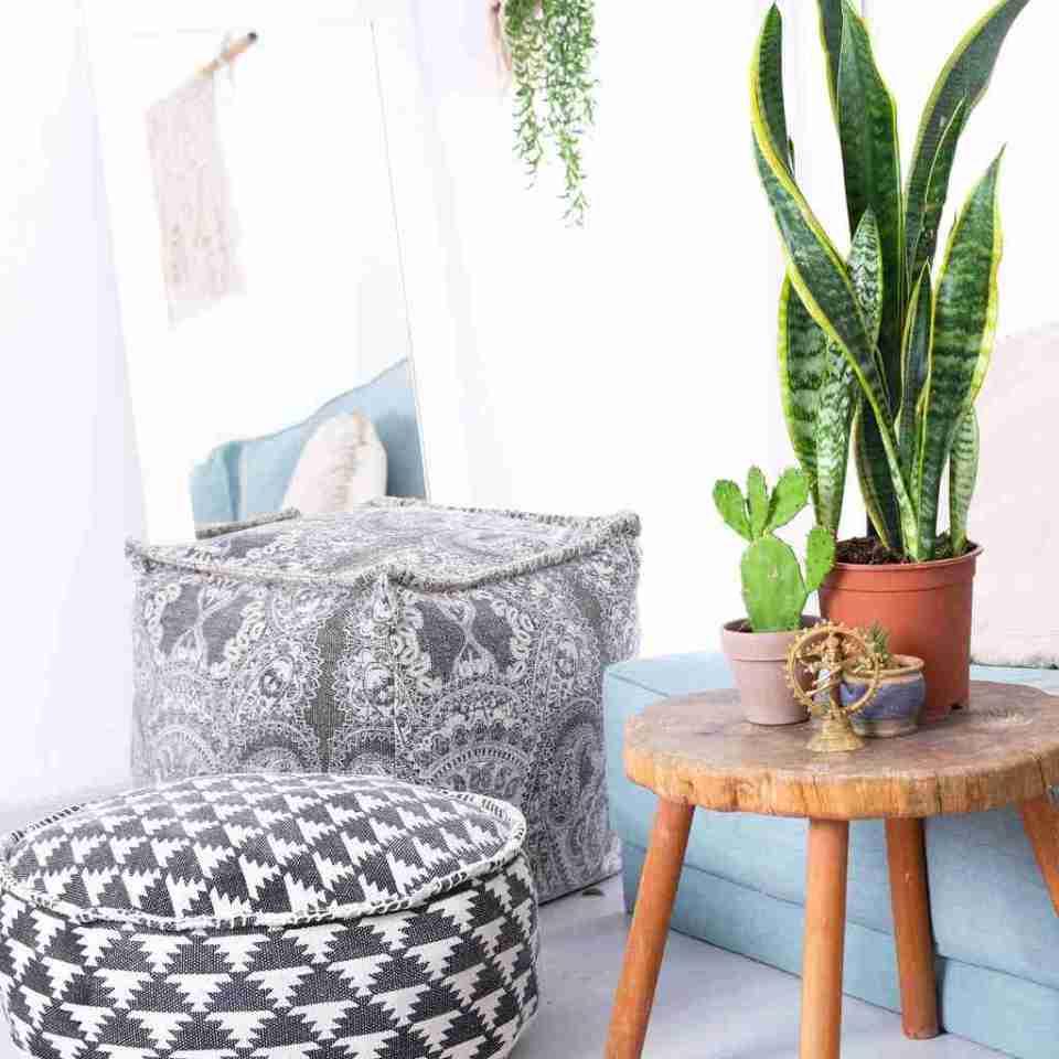 Tribal Bohemian Decor Floor Cushion Pouf pattern black gold white 9