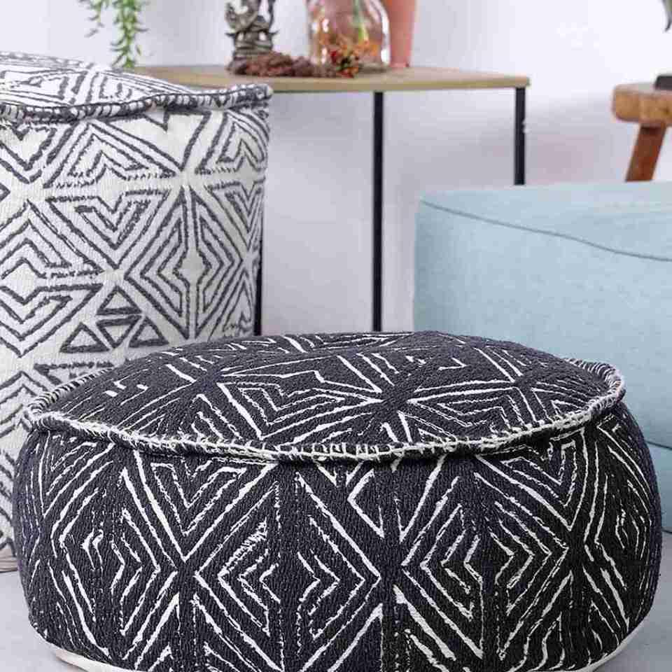 Tribal Pouf Ottoman Cube Floor Cushion Decor Black and White 11