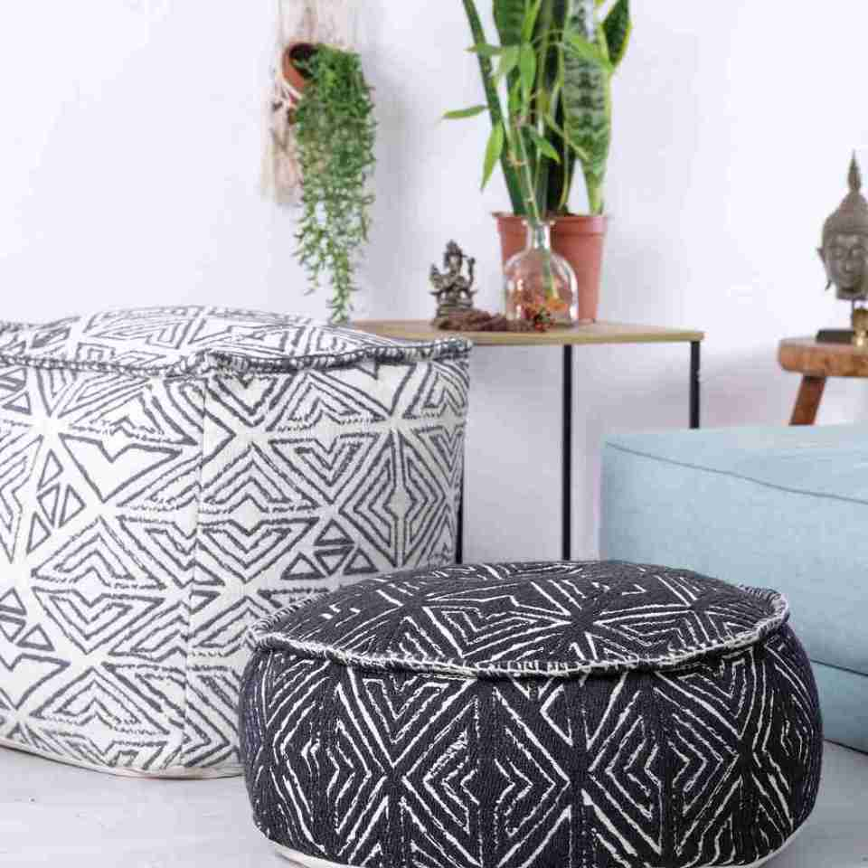 Tribal Pouf Ottoman Cube Floor Cushion Decor Black and White 12