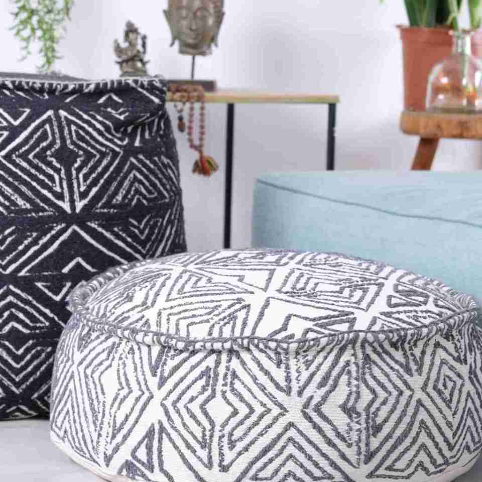 Tribal Pouf Ottoman Cube Floor Cushion Decor Black and White 3